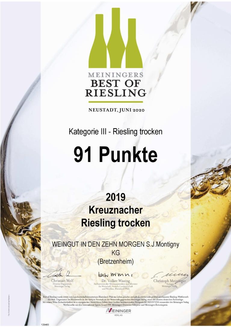 Auszeichnung Best Riesling Nahe 91 Punkte